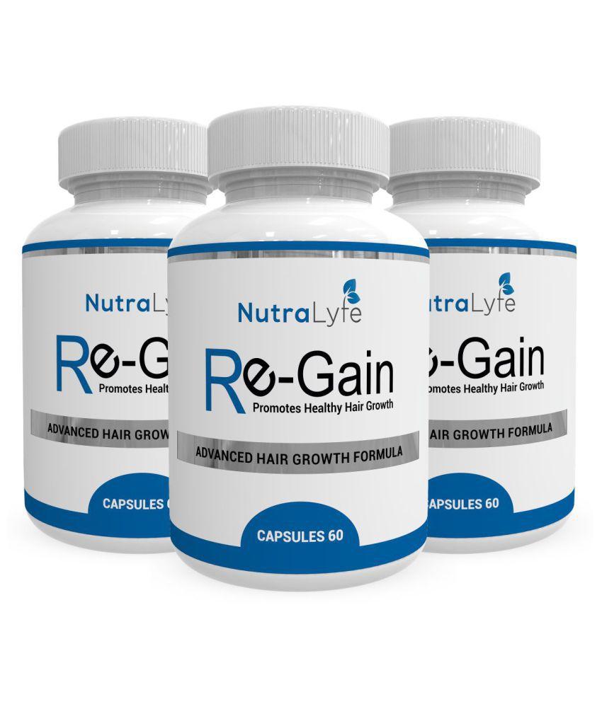 Nutralyfe Hair Regain - All Natural Hair Loss Supplement For Healthy Hair - 180 Veg Capsules(PackOf3)