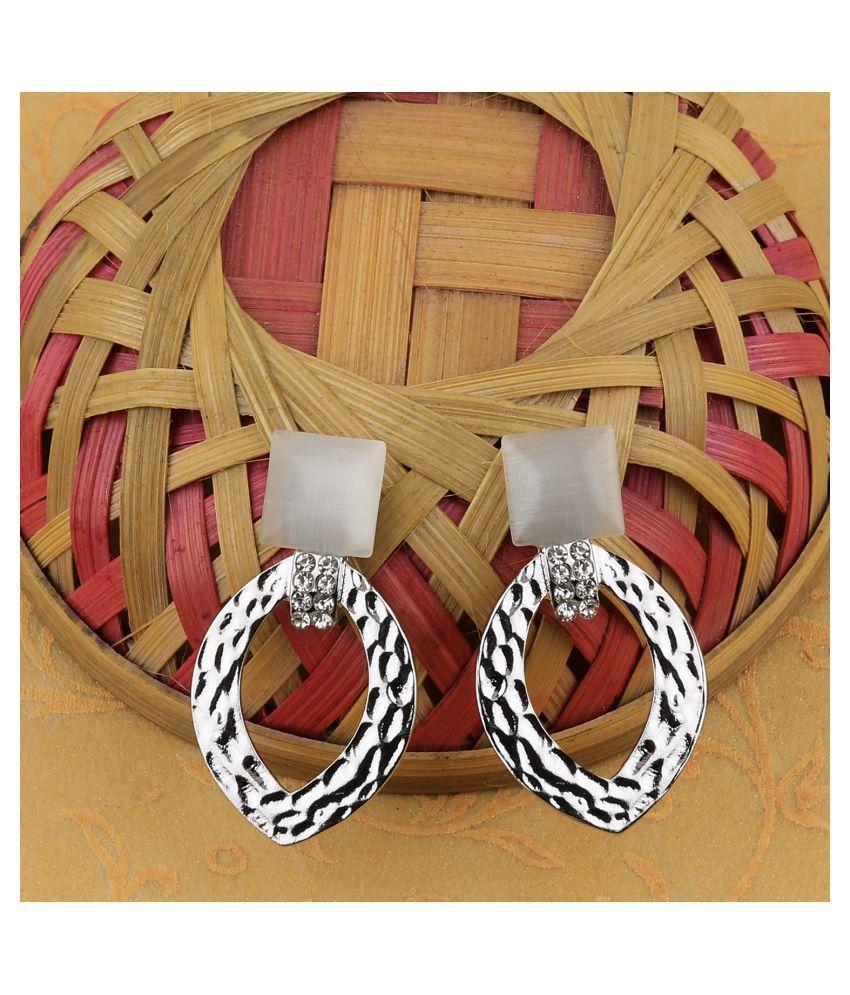 SILVER SHINE Silver Plated Stylish Diamond Drop Earring For Women Girl