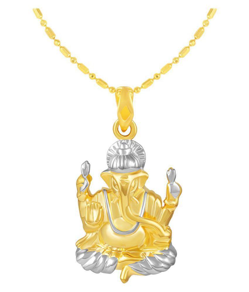 VIRINA Ganesh Gold Plated Alloy & Brass Cubic Zirconia god Pendant with Chain for Women & Men [VGP1110G]