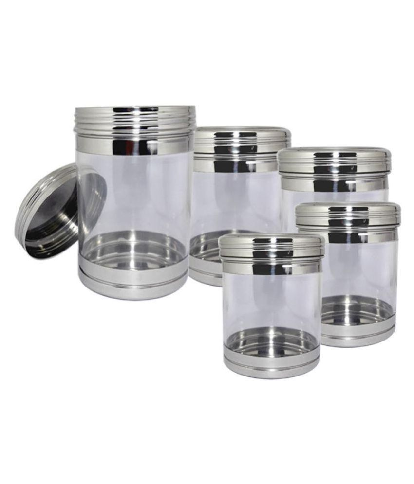 bartan hub container set of 5 Steel Tea/Coffee/Sugar Container Set of 5 1000 mL