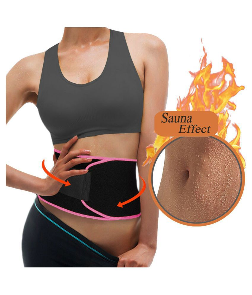 Hanuman Impex Advance Sweat Waist Belt | Belly Tummy Yoga Wrap Black Exercise Body Slimming Belt Pink