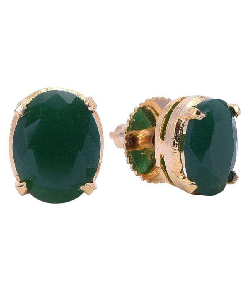 Ratnavali Jewels Golden Silver Plated Oval Green CZ American Diamond Stylish 9mm Stud Tops Earrings For Women/Girls RV3206G