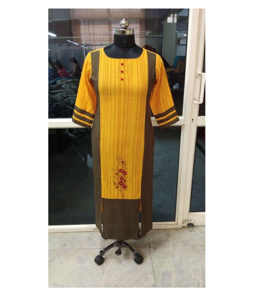 Sequin Crafts Yellow Cotton Straight Kurti