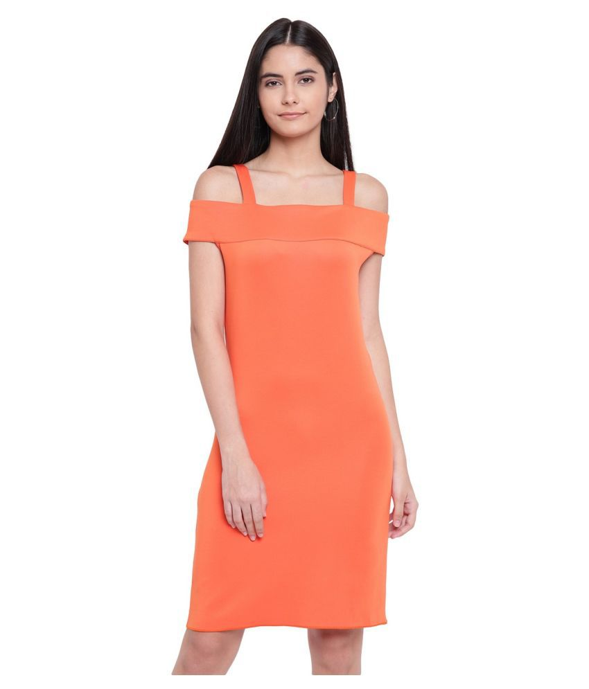 RIVI Polyester Orange Off Shoulder