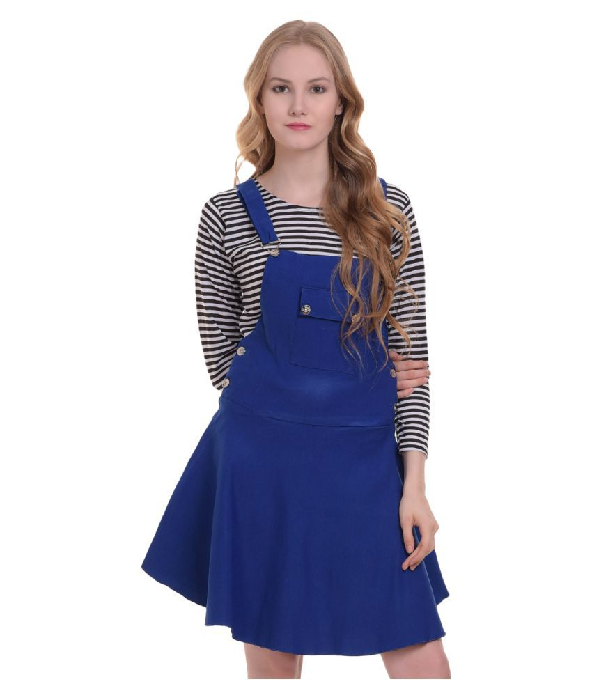 BuyNewTrend Cotton Lycra Blue Dungaress/Pinafore