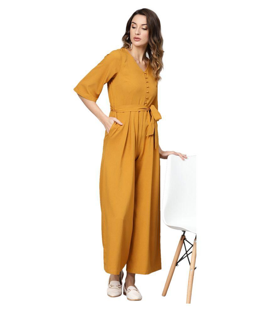 Femella Yellow Polyester Jumpsuit