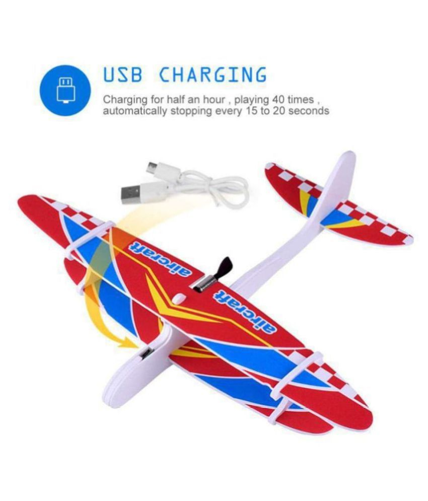 BALA JEE(™) TOY'S GIFT CENTER  Hand Throw Flying USB Electric Power Motor Glider Foam Aeroplane Outdoor Toy