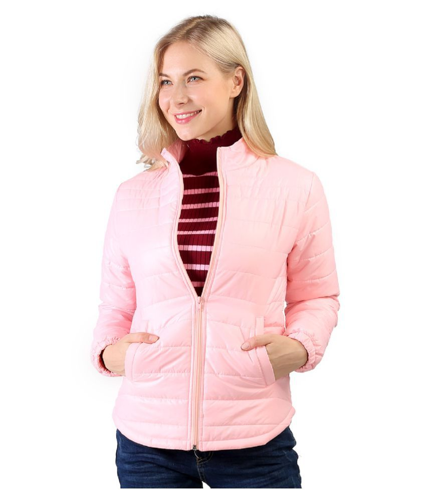 London Rag Polyester Blend Pink Quilted/Padded Jackets