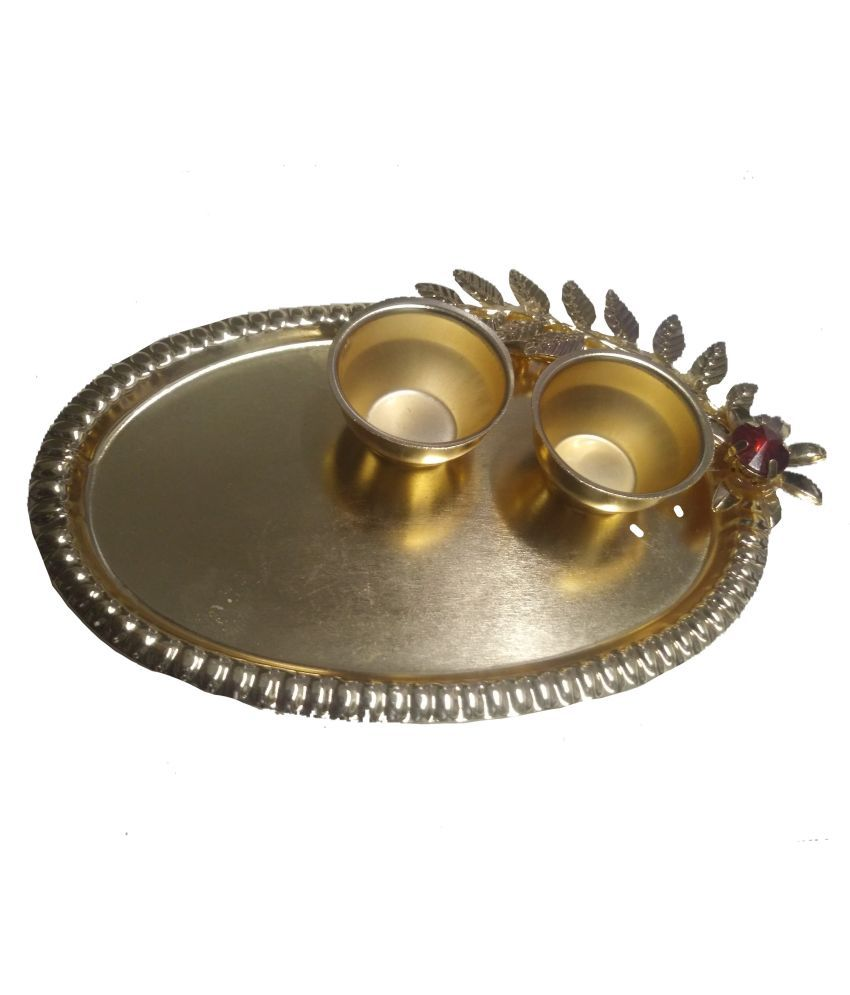 joya creation golden pooja thali for home decoration and gift.