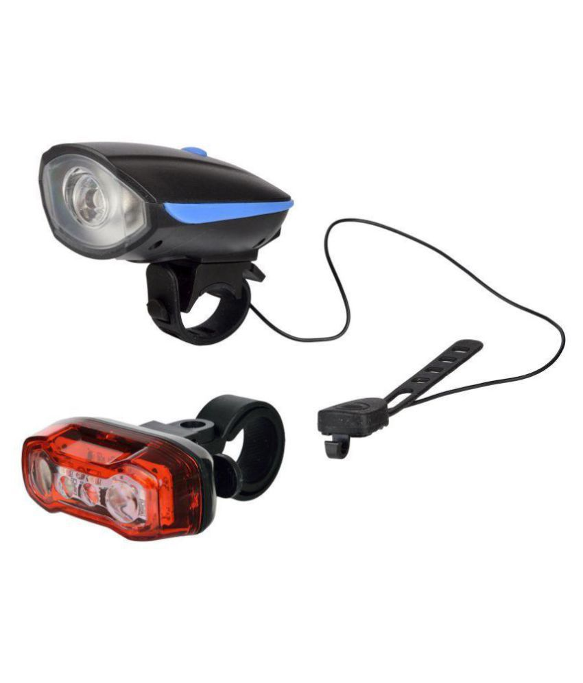 DarkHorse Bicycle Horn & Light with USB Rechargeable & LED Tail Light Battery with Red & Blue Lights Combo/Set, Blue