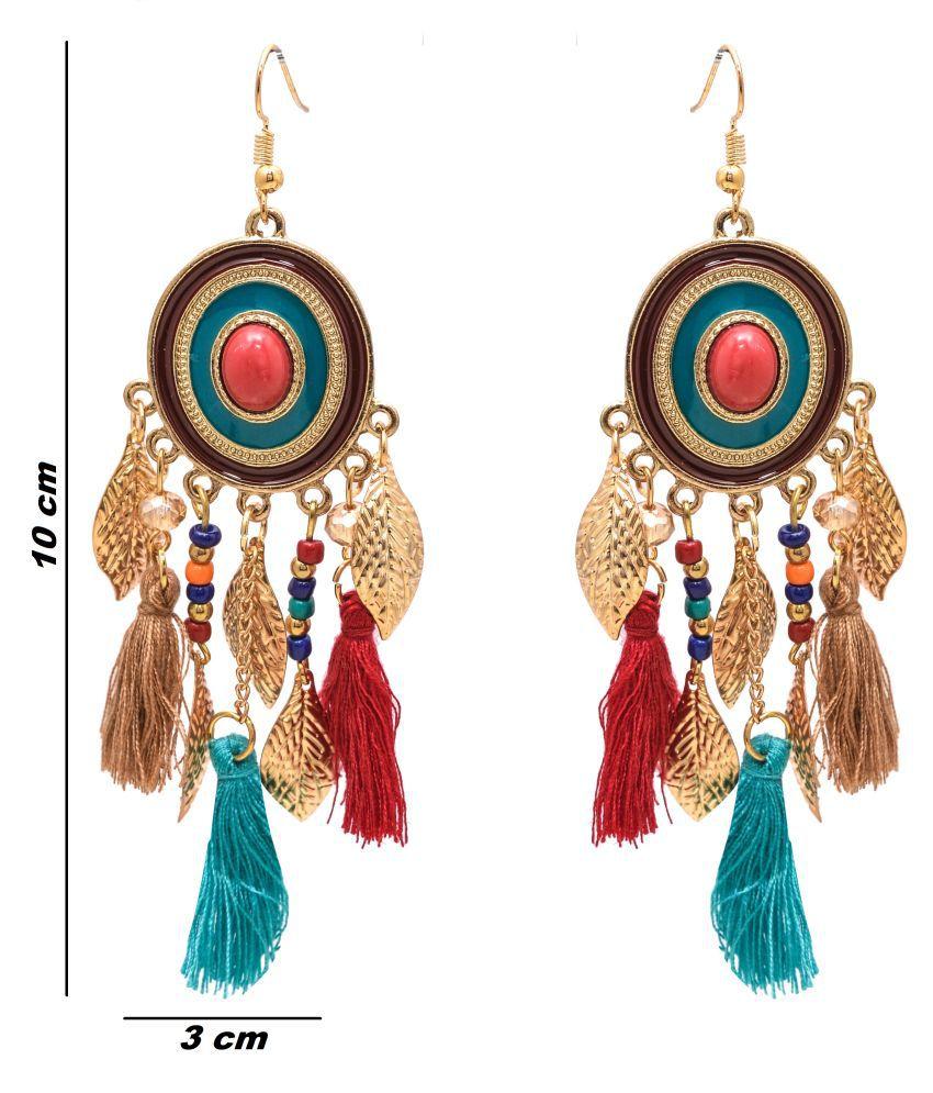 Jewelz Gold Matte Tassels Earrings