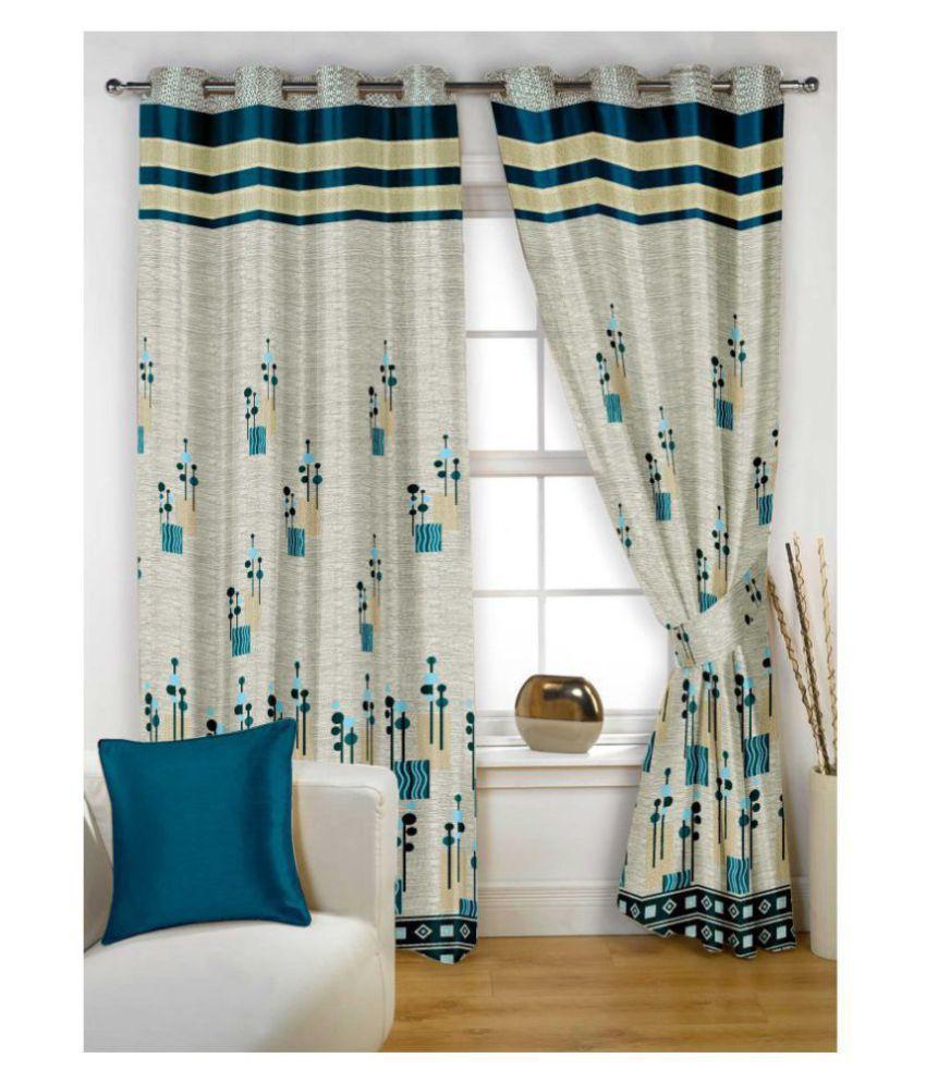 Story@Home Single Window Blackout Room Darkening Eyelet Jute Curtains Gray