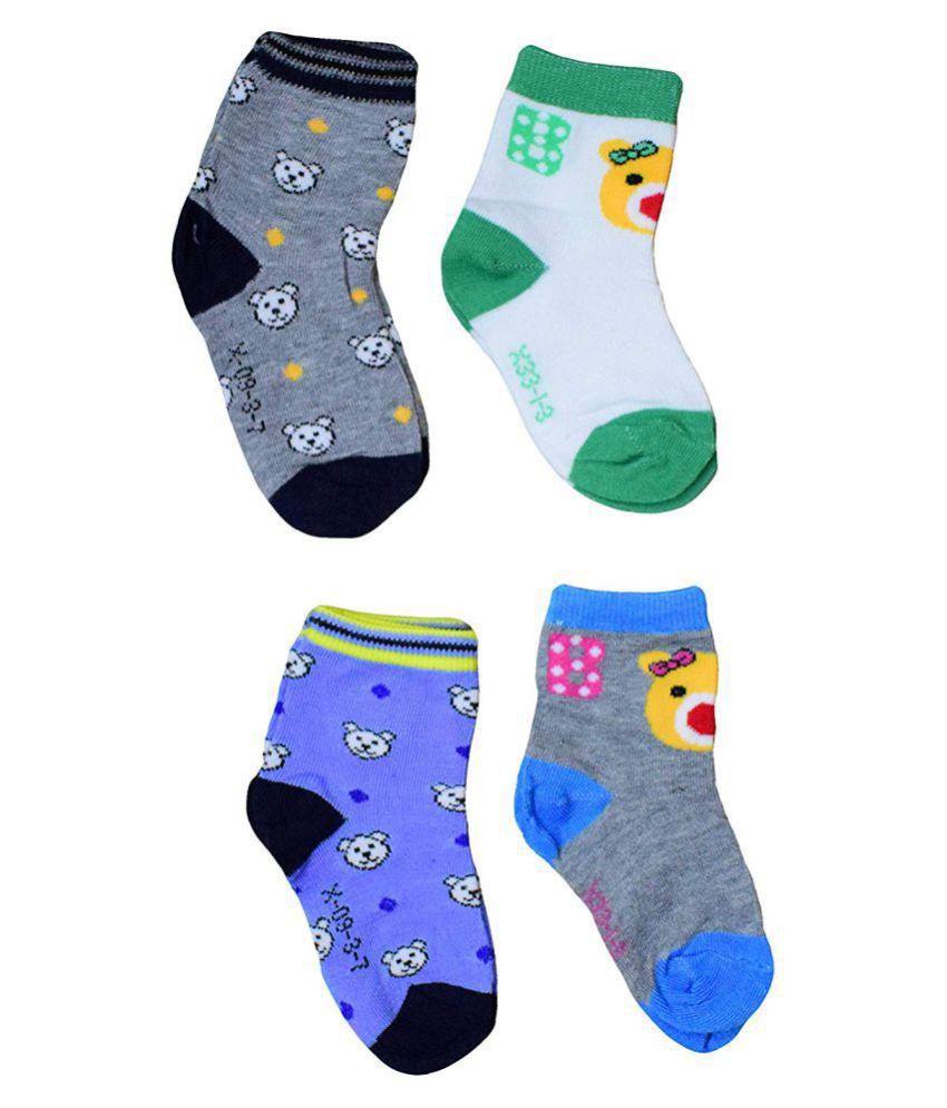 Gouravsumana Baby Boys and Baby Girl's Scoks ( Multicolour ; Pack Of 4 ) 2-3 Years