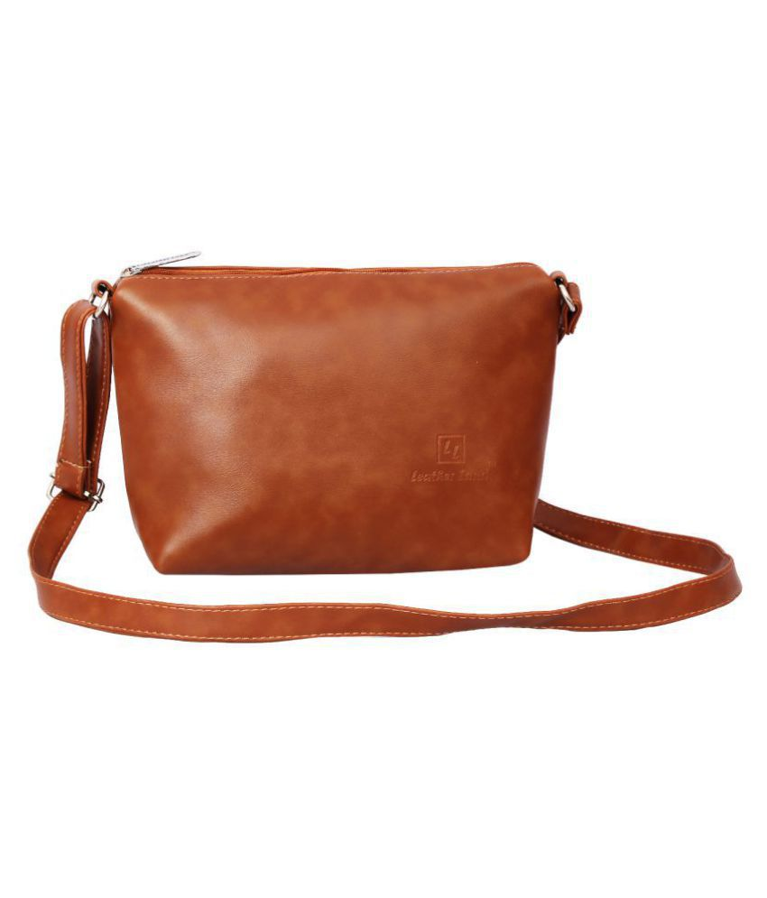Leather Land Tan Faux Leather Sling Bag