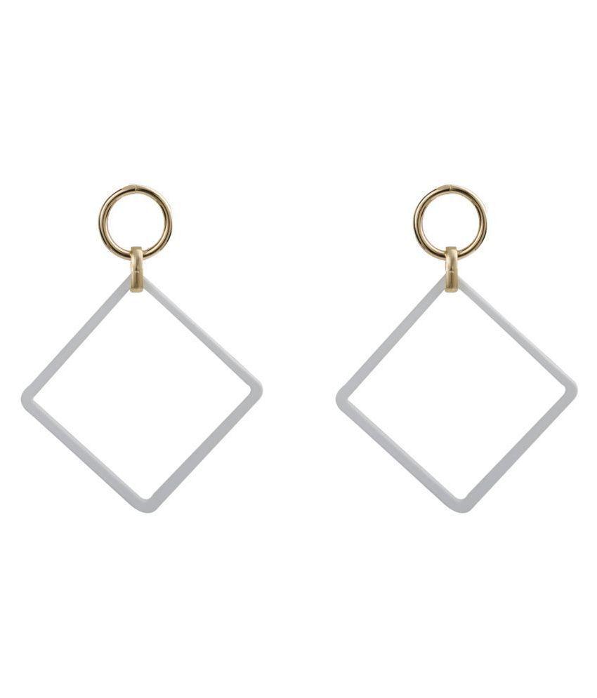 Silver Shine Alluring White Stylish Fashionable Unique Drop Earring