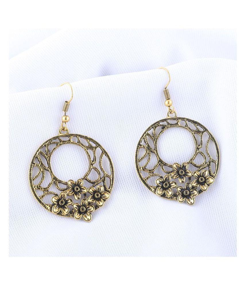 Silver Shine Designer Golden Fish Hook Earrings for Women