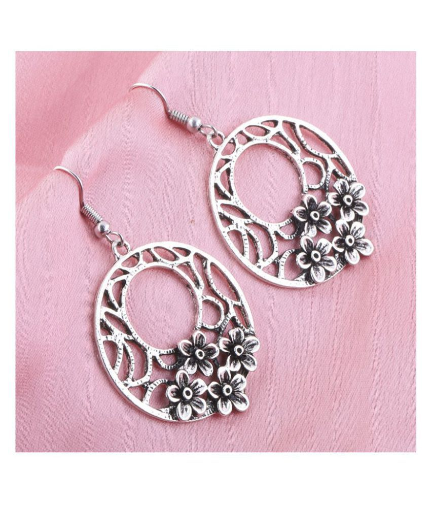Silver Shine Stylish Silver Floral Hollow Drop Earring For Girls And Women