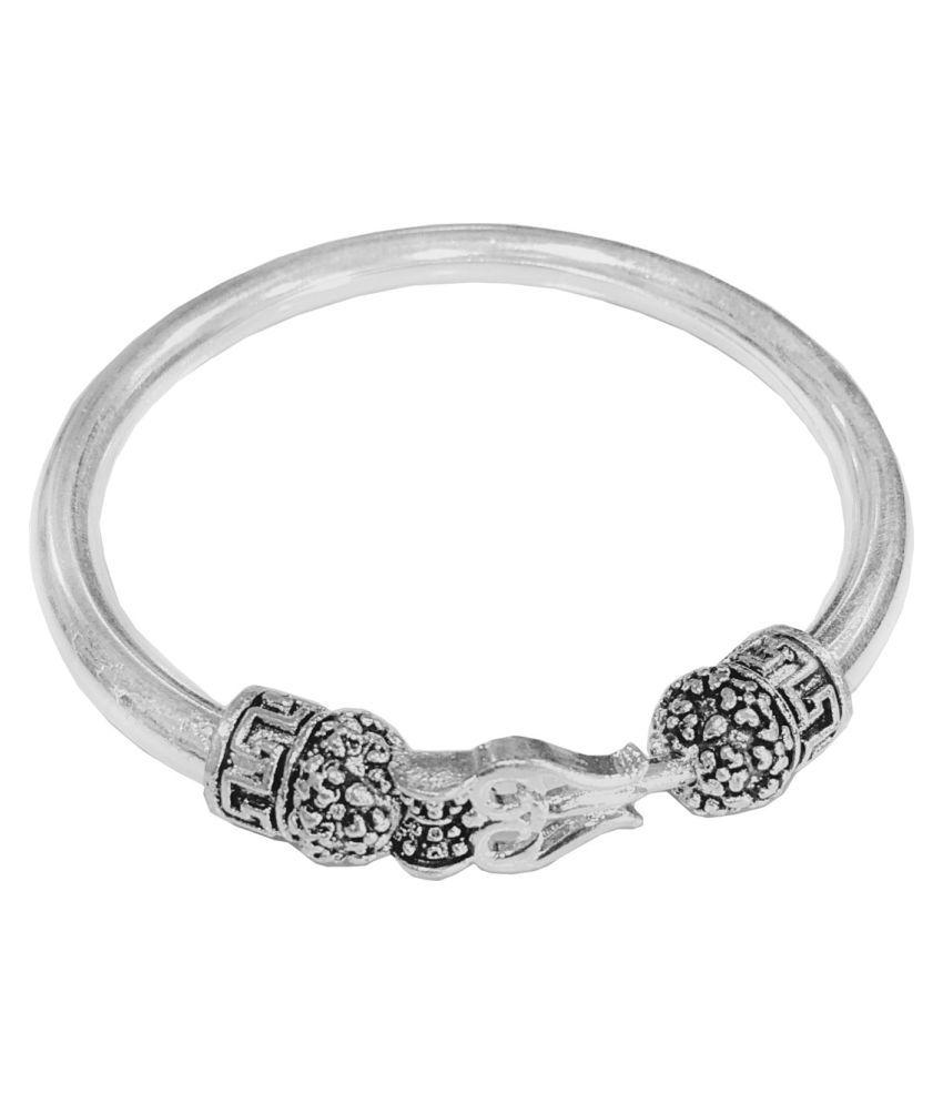 Men Style Lord Shiv Trishul Damru Stylish Silver Brass Cuff