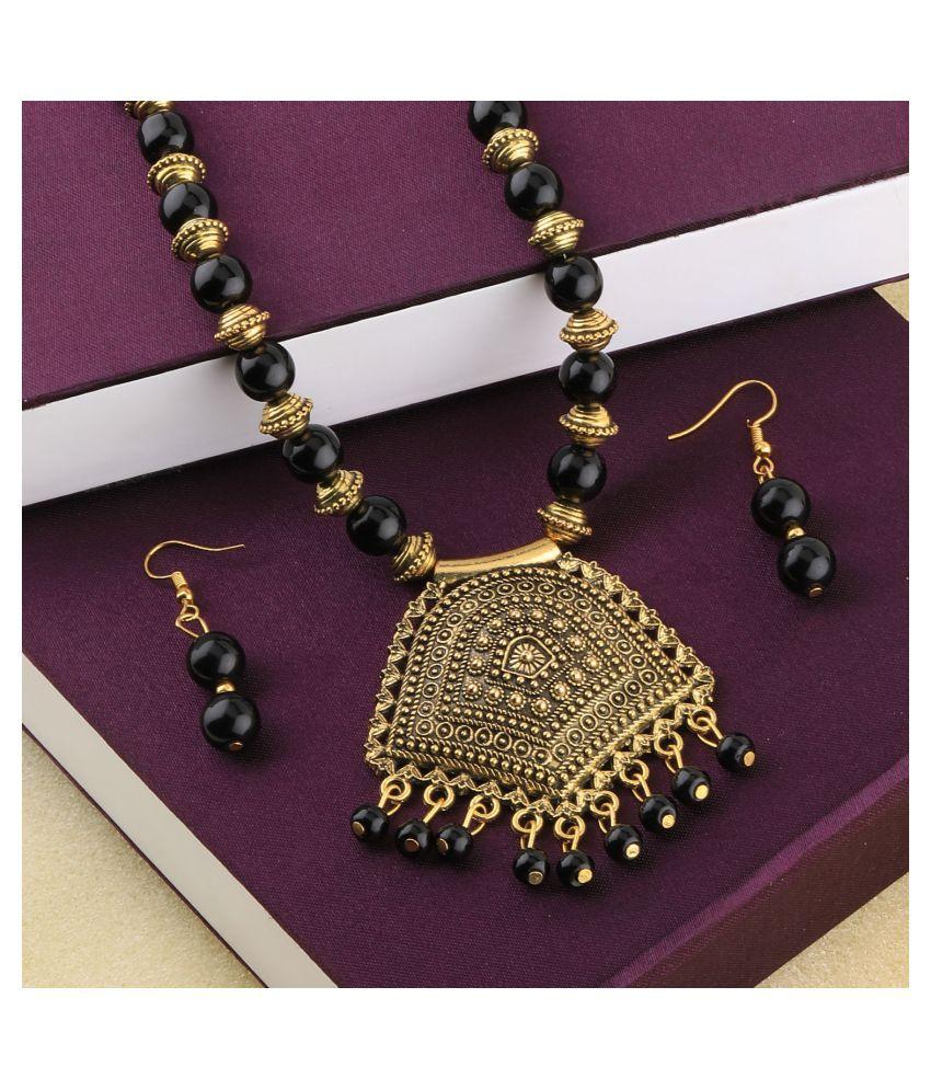 SILVERSHINE Charm Gold Oxidised Pendant Black Pearl mala set for Women girl
