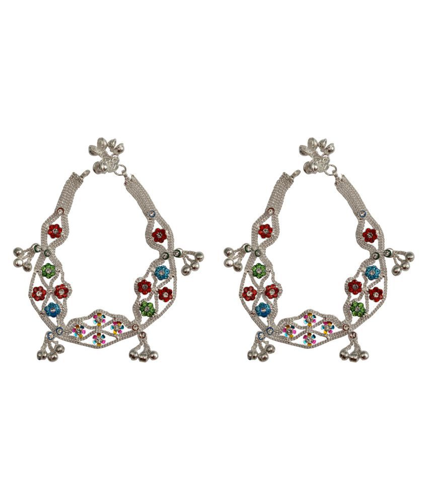 Rabia Taj Pearl & Arts Traditional Silver plated anklets