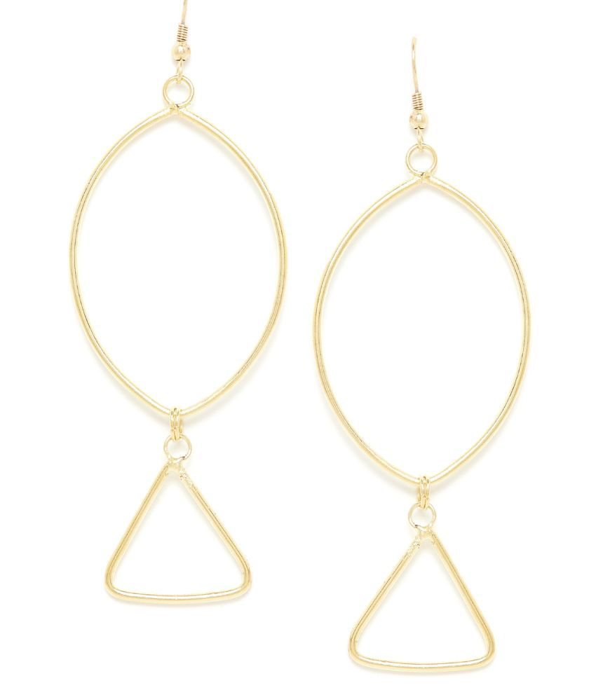 GloBox Oval Artificial Hoop Earrings in Gold Color