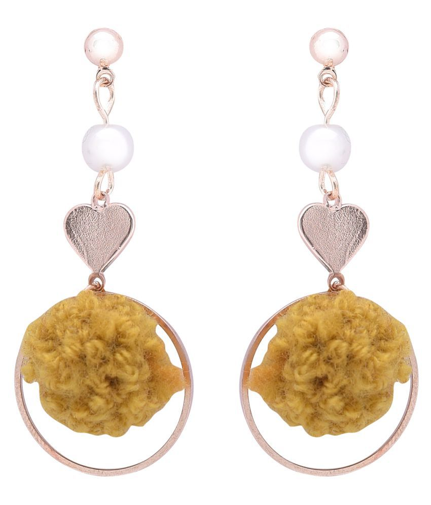 STUDIRA  Alloy Drops Non Precious Metal Fashion Jewellery Stylish Yellow-Color Fancy Party Wear Earrings for Girls and Women