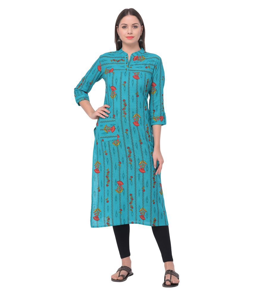 Shrashty Green Cotton Straight Kurti