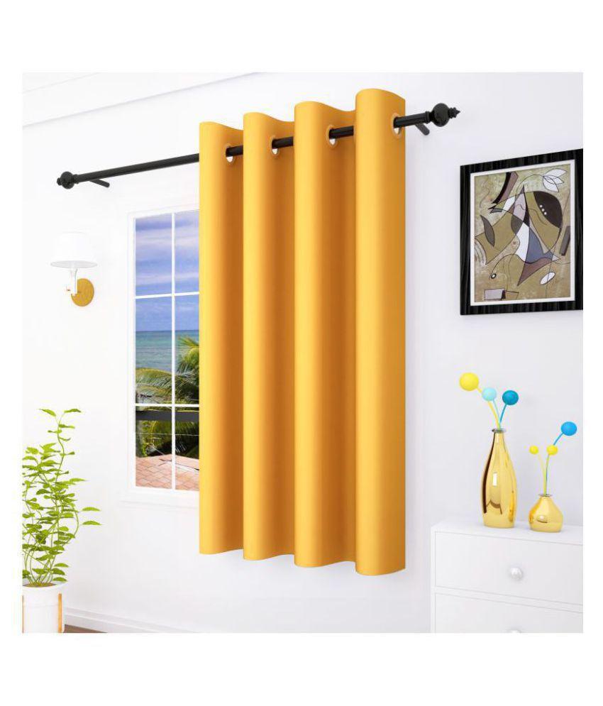 Story@Home Single Window Blackout Room Darkening Eyelet Silk Curtains Gold