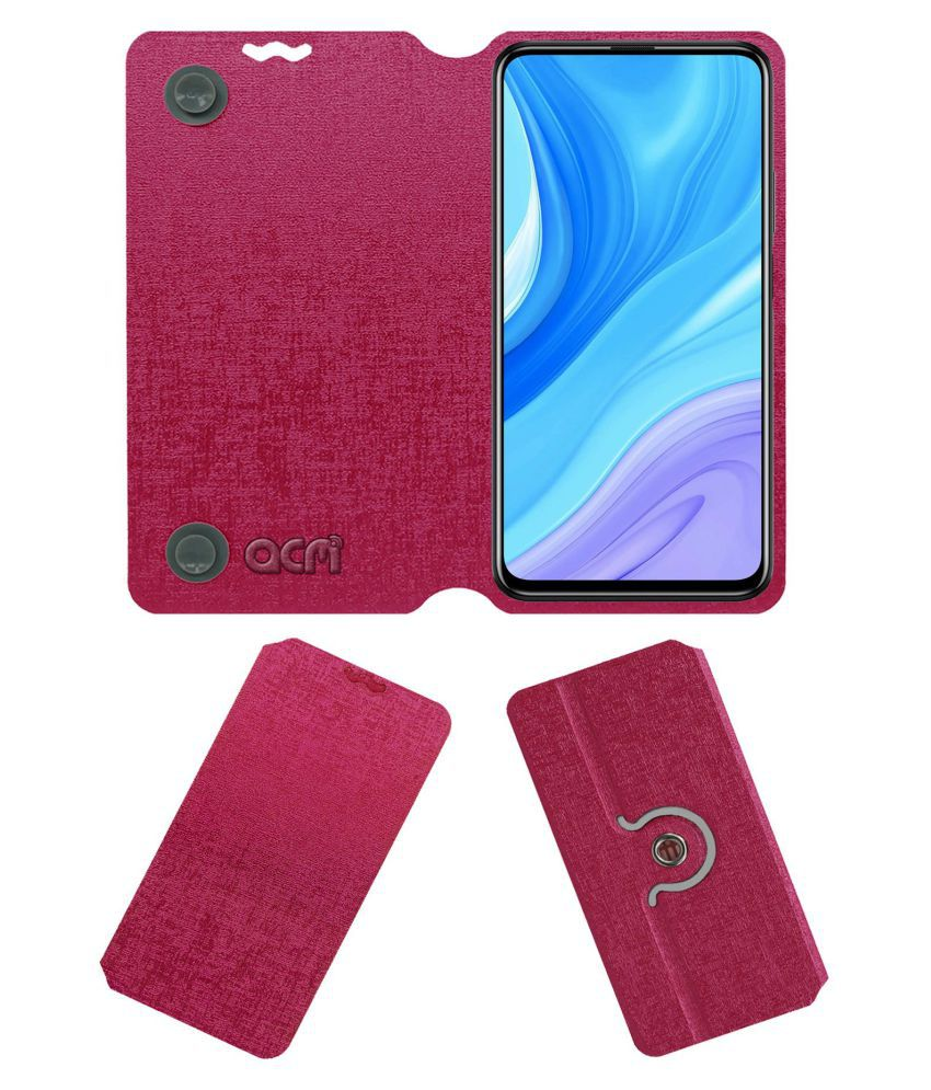 Huawei Y9S Flip Cover by ACM - Pink Dual Side Stand