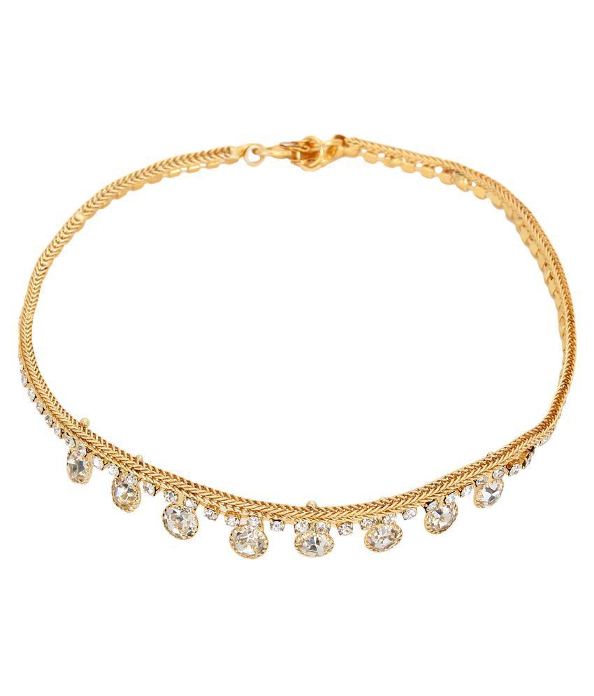 Jewels Gold Alloy Beautiful Latest Payal For Women & Girls