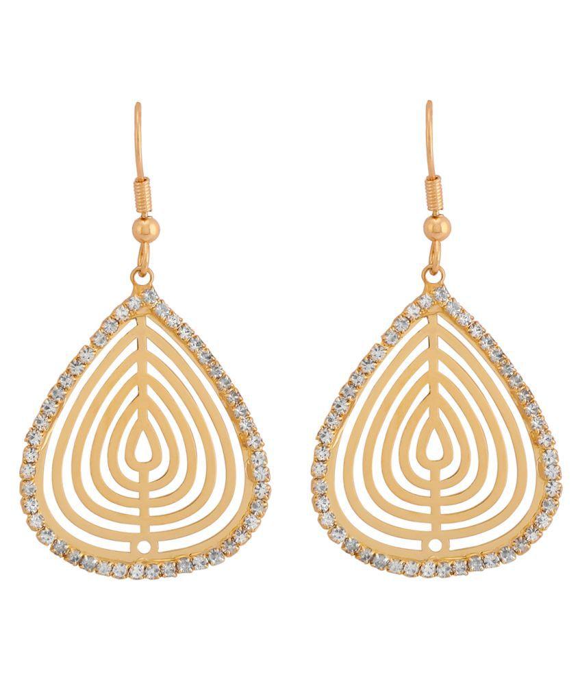FDStyles High Street 18k Yellow Gold Plated Alloy Casual Wear Dangler Earrings for Women & Girl's