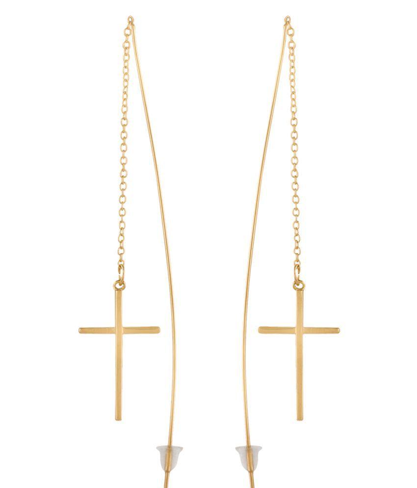 FDStyles Workaholic 18k Rose Gold Plated Alloy Party Wear Dangler Earrings for Women & Girl's