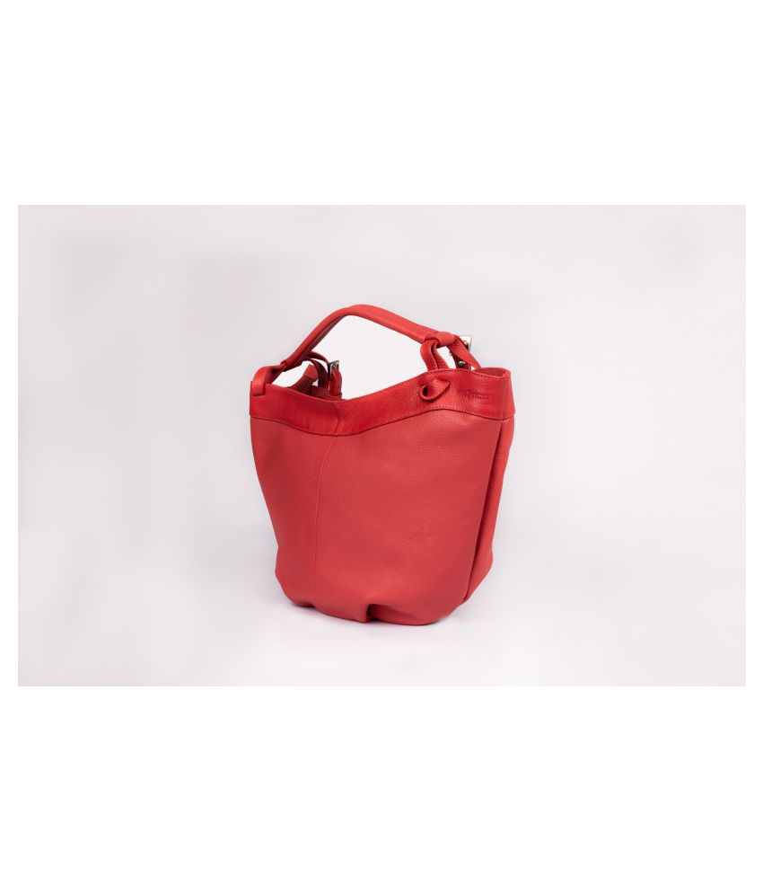 HIDE N STITCH Red Pure Leather Tote Bag
