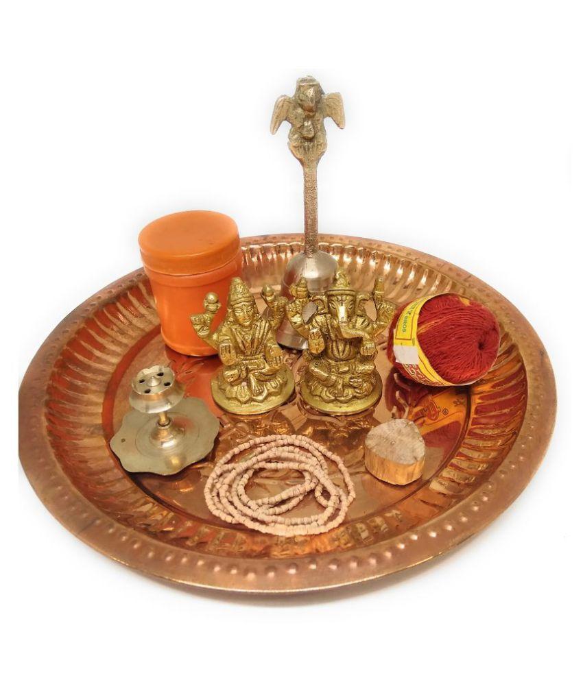 Puja Thaali Set With Laxmi Ganesh Murti, Mouli Dhaaga, Puja Bell, Chandan Tilak, Agarbatti Stand, Chandan Mala, Chandan Stick