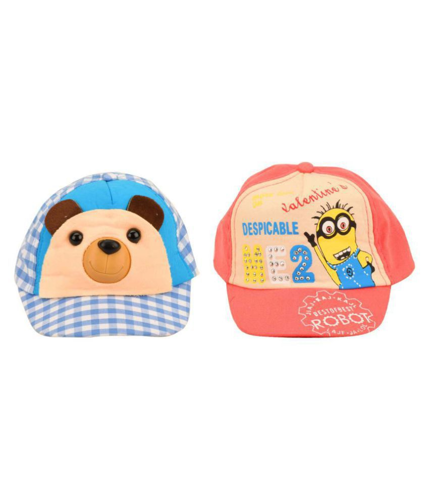 Tiekart A Combo Pack of 2 Cotton Summer Funky Caps for Kids