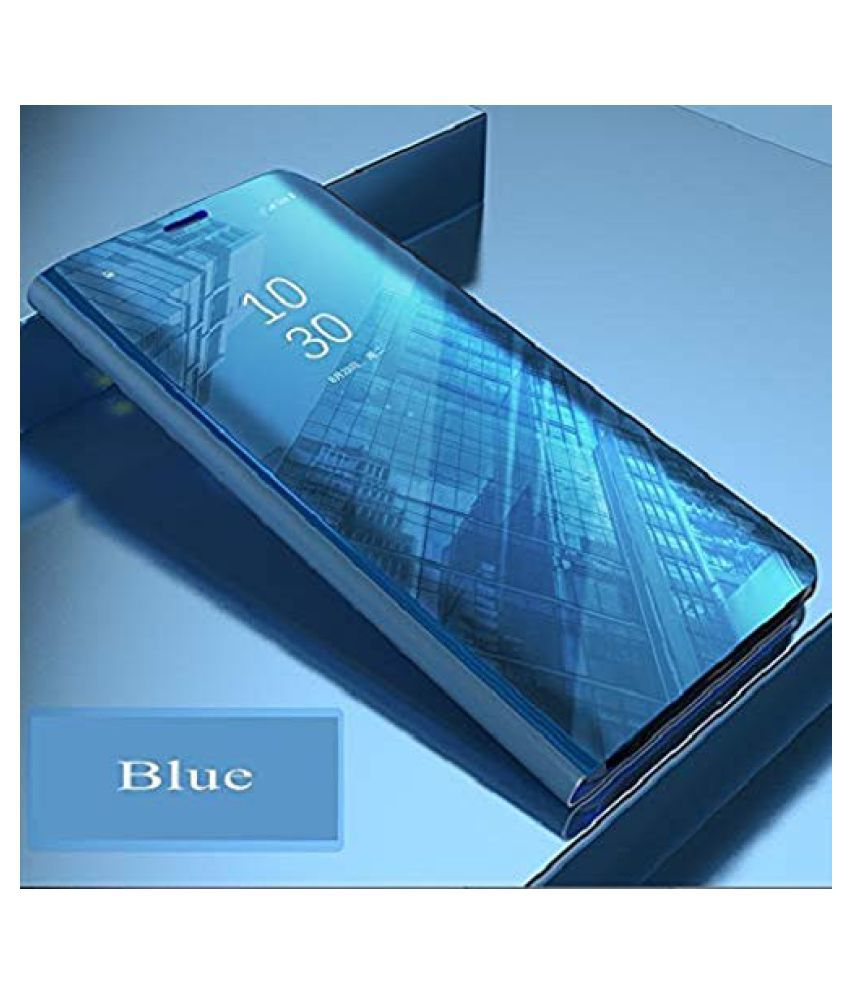 Vivo Y69 Flip Cover by BeingStylish - Blue Luxury Mirror Flip Cover
