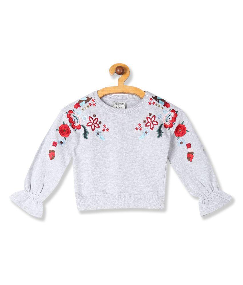 Grey Girls Bell Sleeve Embroidered Sweatshirt