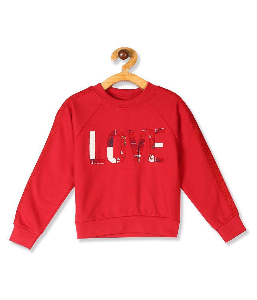 Red Girls Raglan Sleeve Appliqued Sweatshirt