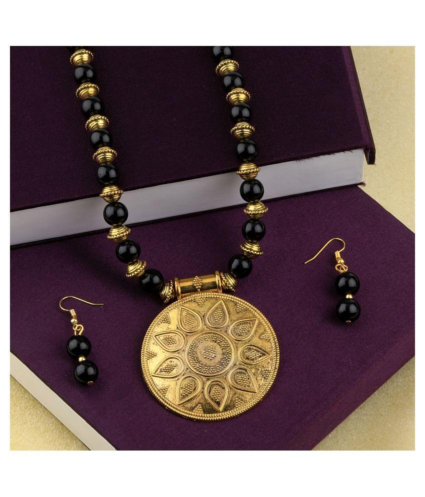 SILVERSHINE Exclusive  Adjustable Designer Gold Oxidised Round Pendant Black Pearl mala set for Women girl