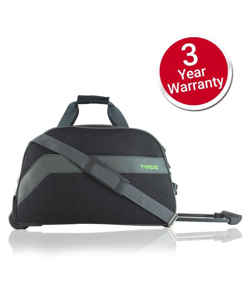 Timus BOLT 55 CM BLACK 2 WHEEL DUFFLE FOR TRAVEL CABIN LUGGAGE Travel Duffel Bag  Black