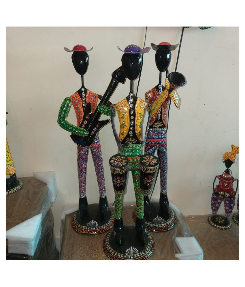 ANITHA DECORS Iron New Big Male Musician Dolls Set Of 3 Wall Sculpture Assorted - Pack of 1
