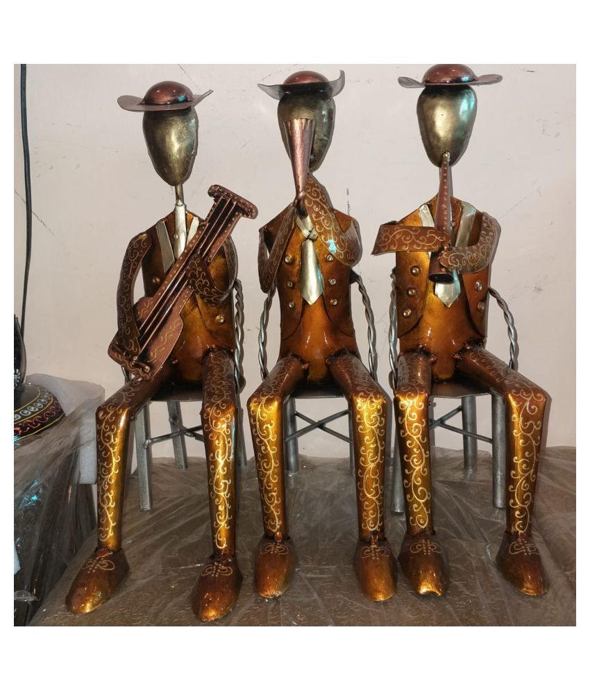 ANITHA DECORS Iron Sitting Male Musicians Set Of 3 Wall Sculpture Assorted - Pack of 1