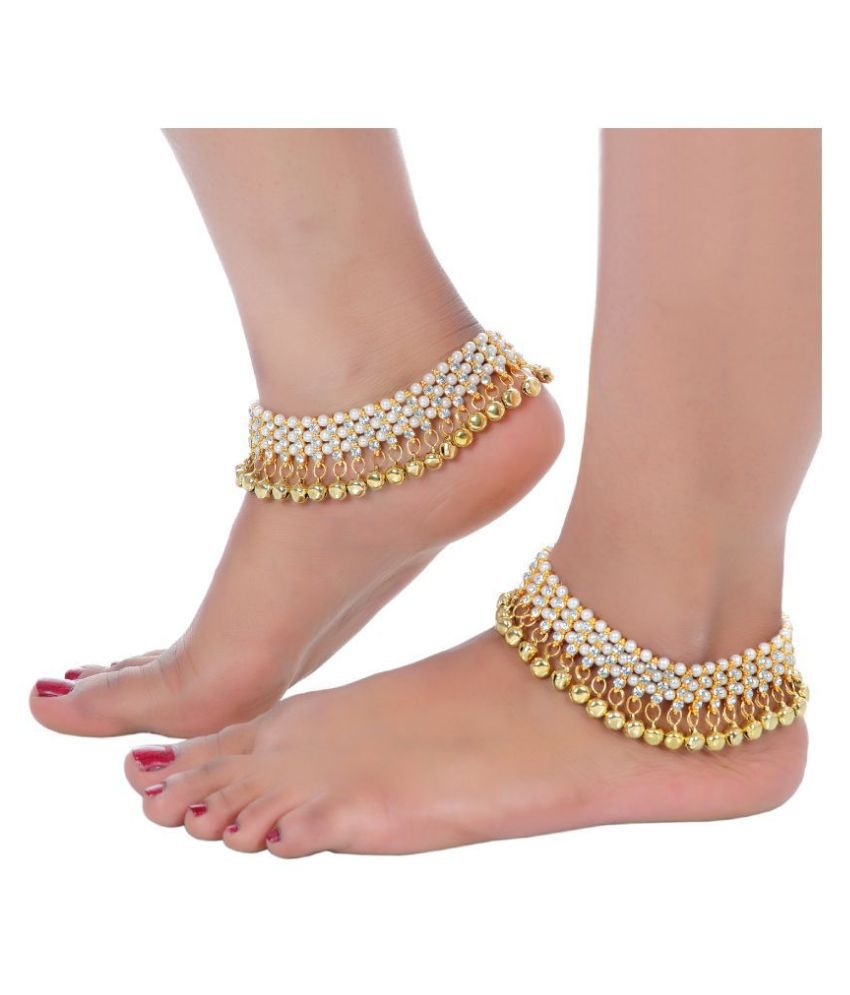 Lucky Jewellery Designer White Color Gold Polish Pearl And Stone Ghunghru Anklet Payal Pair Of One For Girls & Women (264-I2YM-847-W)