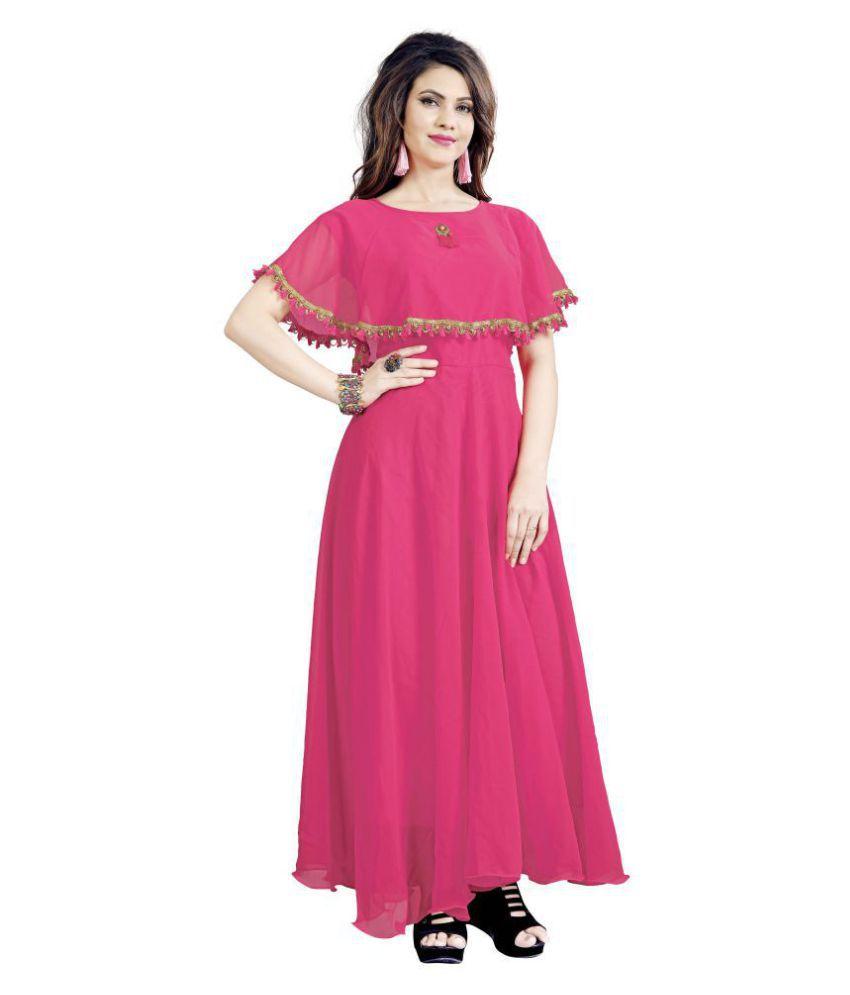 ARYAN ENTERPRISE Poly Georgette Pink A- line Dress