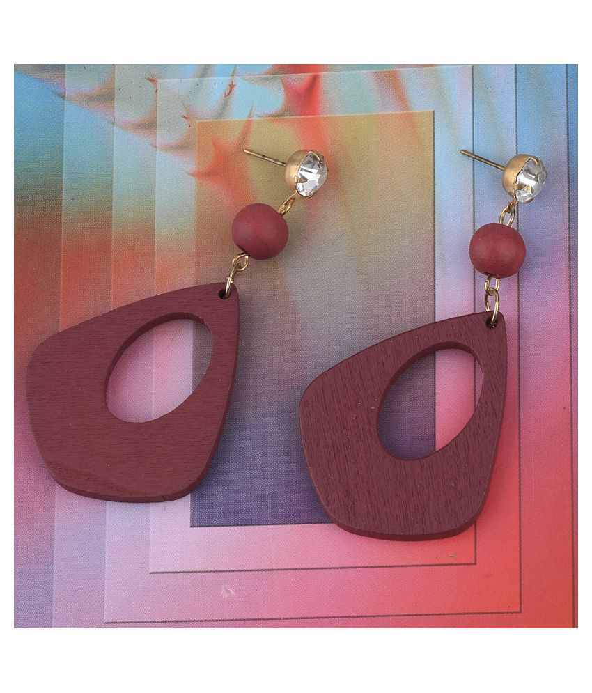 SILVER SHINE  Attractive  Diamond Wooden Light Weight Earrings for Girls and Women.