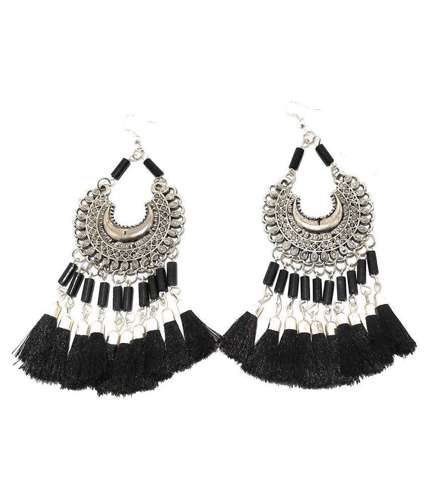 Shopezzz Bazaar Designer Silver Tassel Earrings with Black Hanging Tassels for Women and Girls-Traditional Bold Fancy Fashion Earrings