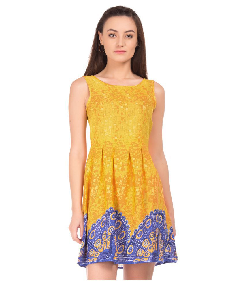 BRONZ Polyester Yellow Fit And Flare Dress