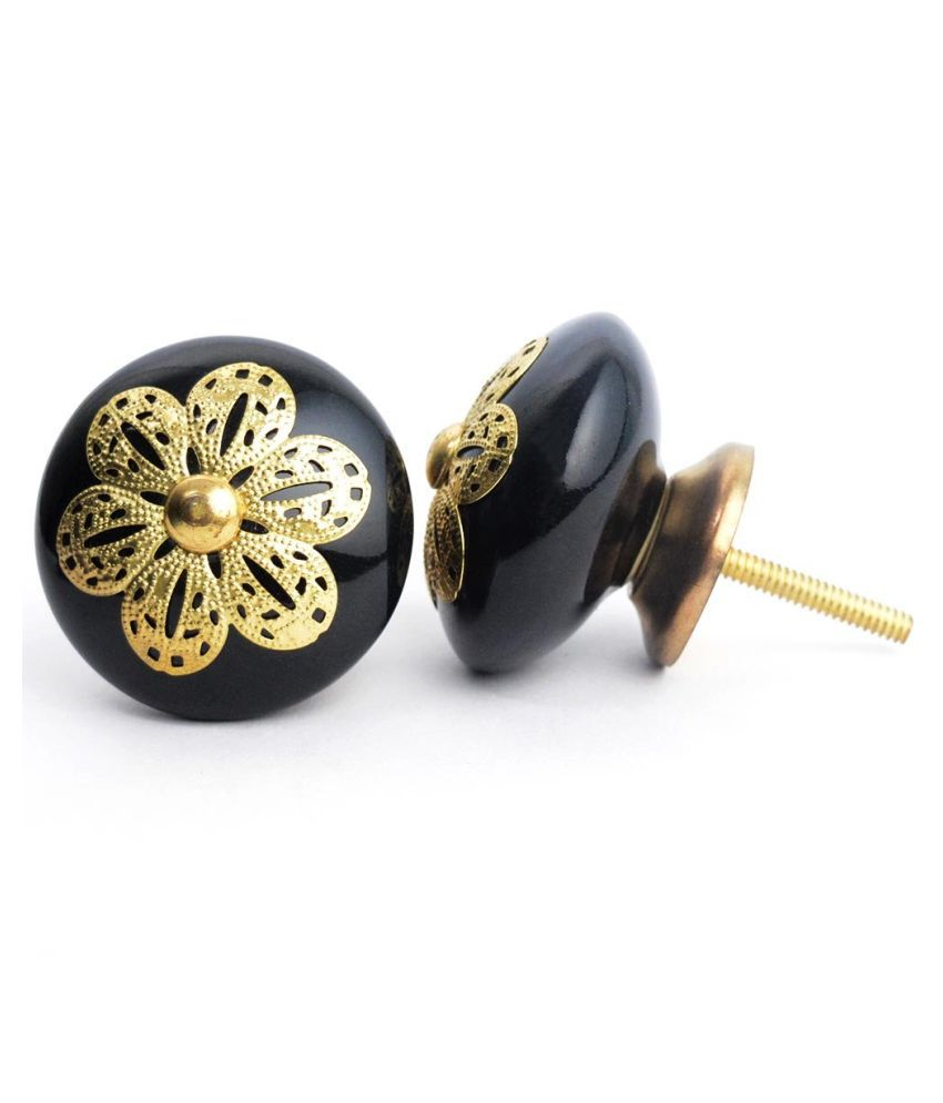 Casa Decor Ornate Classic Ceramic Golden Filigree Knobs For Cabinets & Cupboards Drawer Pull Set (6 pieces) - Black
