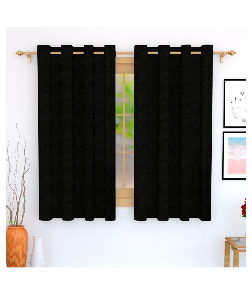 Story@Home Set of 2 Window Blackout Room Darkening Eyelet Jute Curtains Black