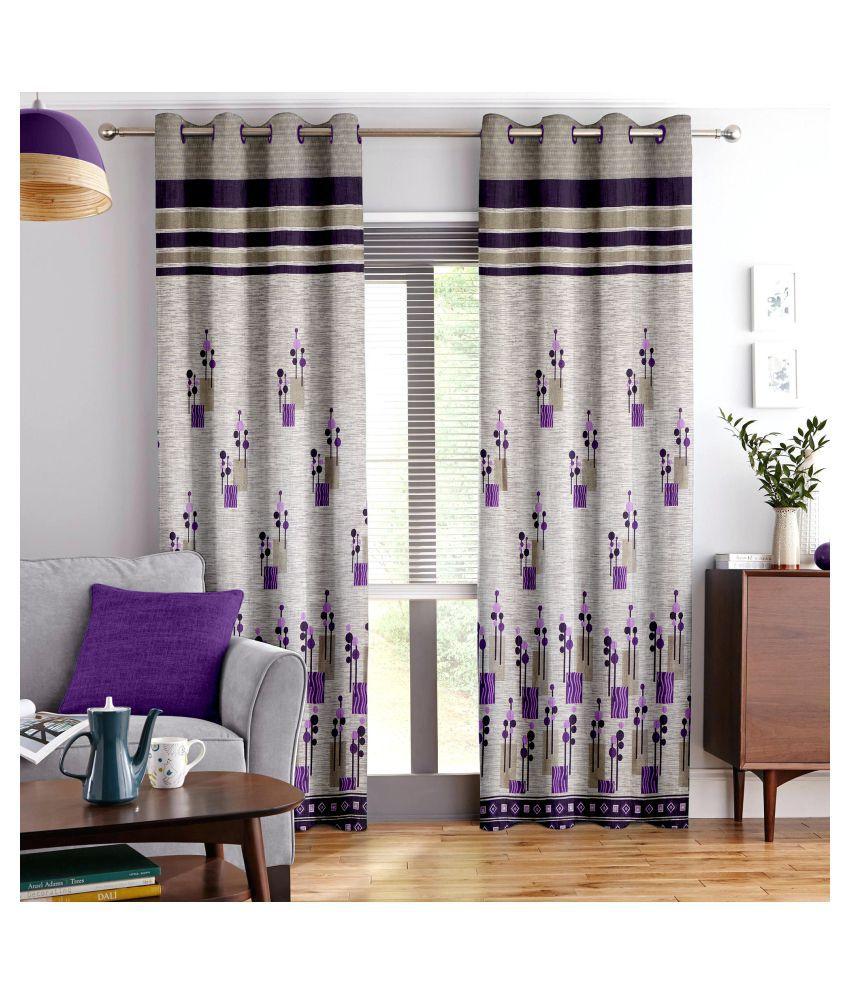 Story@Home Set of 2 Long Door Blackout Room Darkening Eyelet Jute Curtains Purple